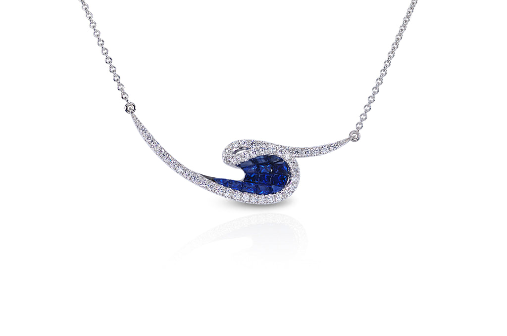 Talay Wave Invi Sapphire & Diamond Wave Necklace
