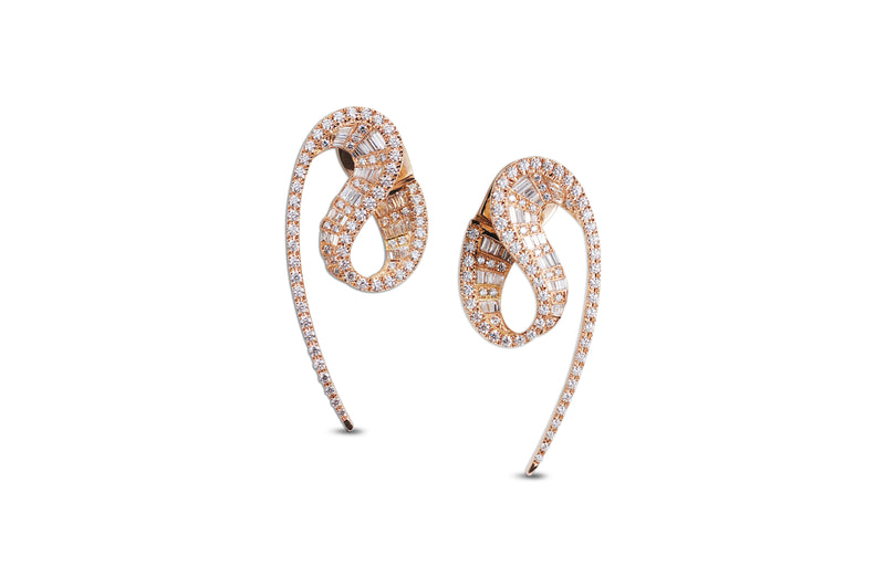 Talay Wave Diamond Rose Gold Earrings