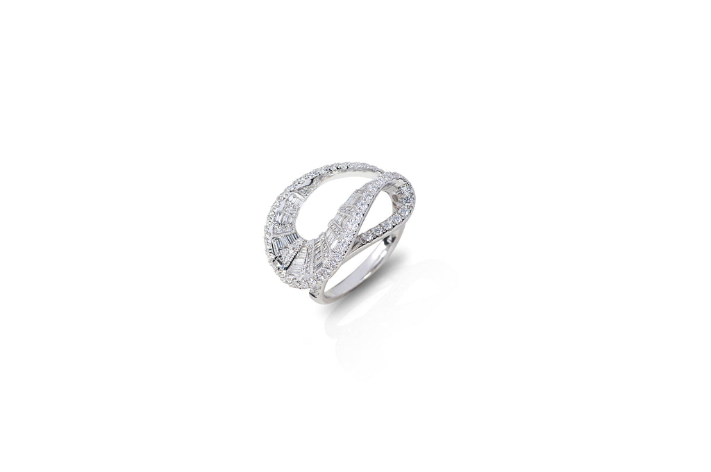 Talay Wave White Gold Diamond Ring [as seen on Laverne Cox]