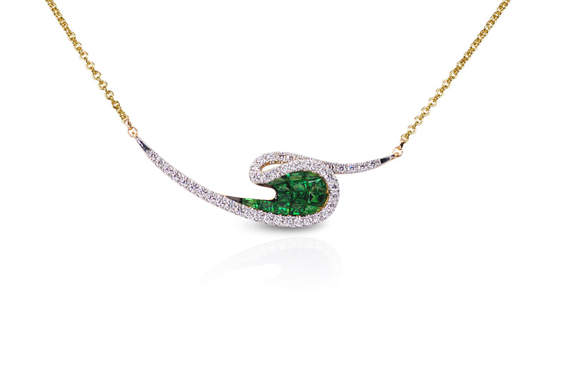 Talay Wave Invi Tsavorite & Diamond Wave Necklace