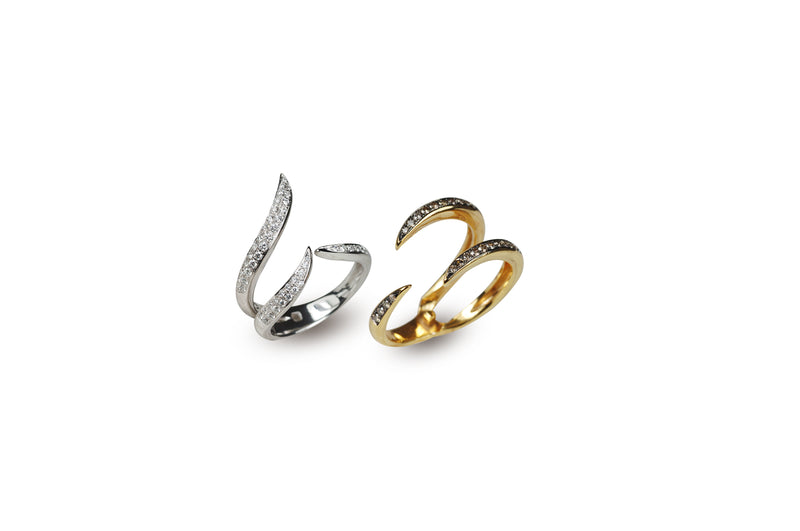 Le Phoenix Duo Claw Stack Yellow Gold Diamond Ring