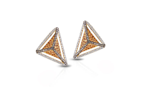 GeoArt Basic Triangle Yellow Sapphire & Diamond Earrings
