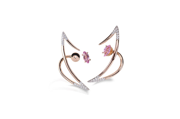 Le Phoenix Zeal Pink Sapphire & Diamond Earrings
