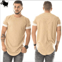 Men's Long Hip Hop Khaki Tee