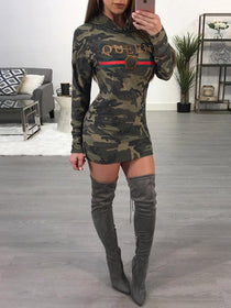 Queen Camo Hoodie Dress