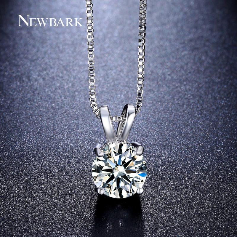 Beautiful Round Necklace White Gold Plated