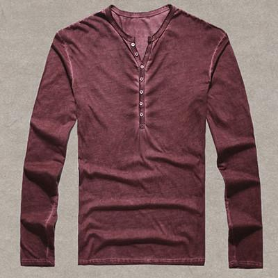 Casual Mens Henley Button Down