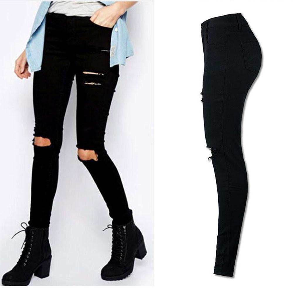 Black Knee Ripped Jeans