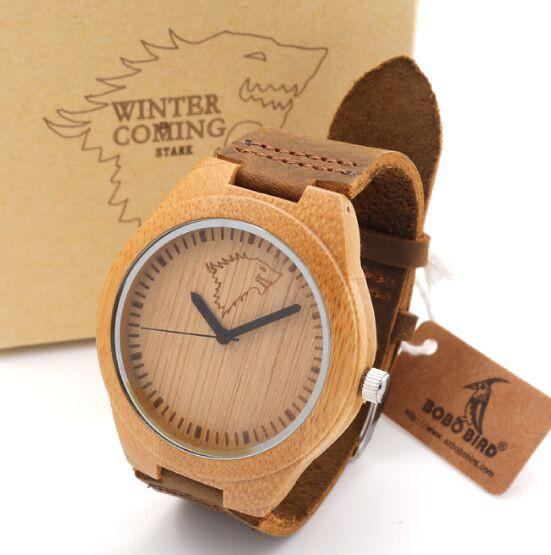 Animal Print Leather Strap Men's Wooden Wristwatch