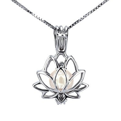 Lotus Flower 925 Solid Sterling Silver Cage Pendant with Oyster and Balloon