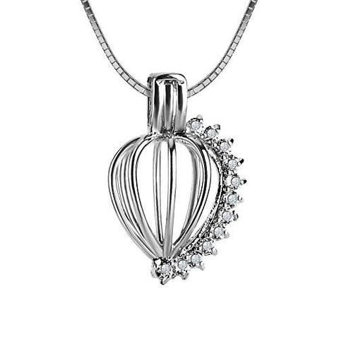 Diamante 925 Solid Sterling Silver Cage Pendant