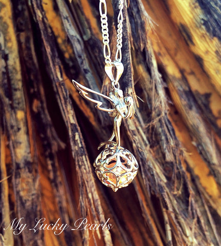 """Shimmer"" Fairy Pendant 925 Sterling Silver Cage Pendant"