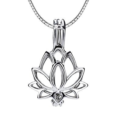 Lotus Flower 925 Solid Sterling Silver Cage Pendant