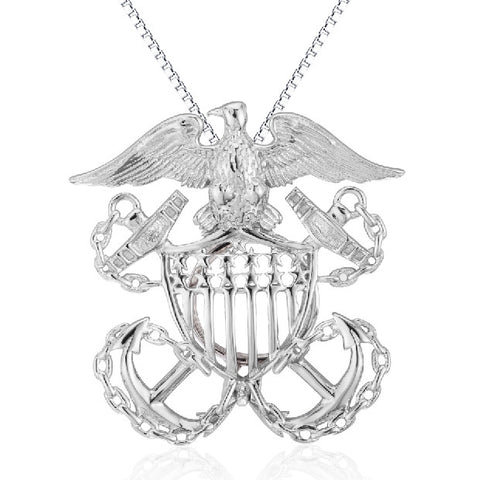 Navy 925 Sterling Silver Cage Pendant