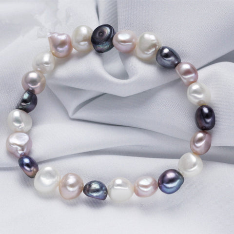 8 mm Baroque Mixed Color Pearl Bracelet