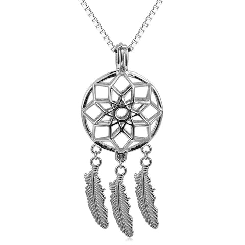 Dream Catcher 925 Sterling Silver Cage Pendant