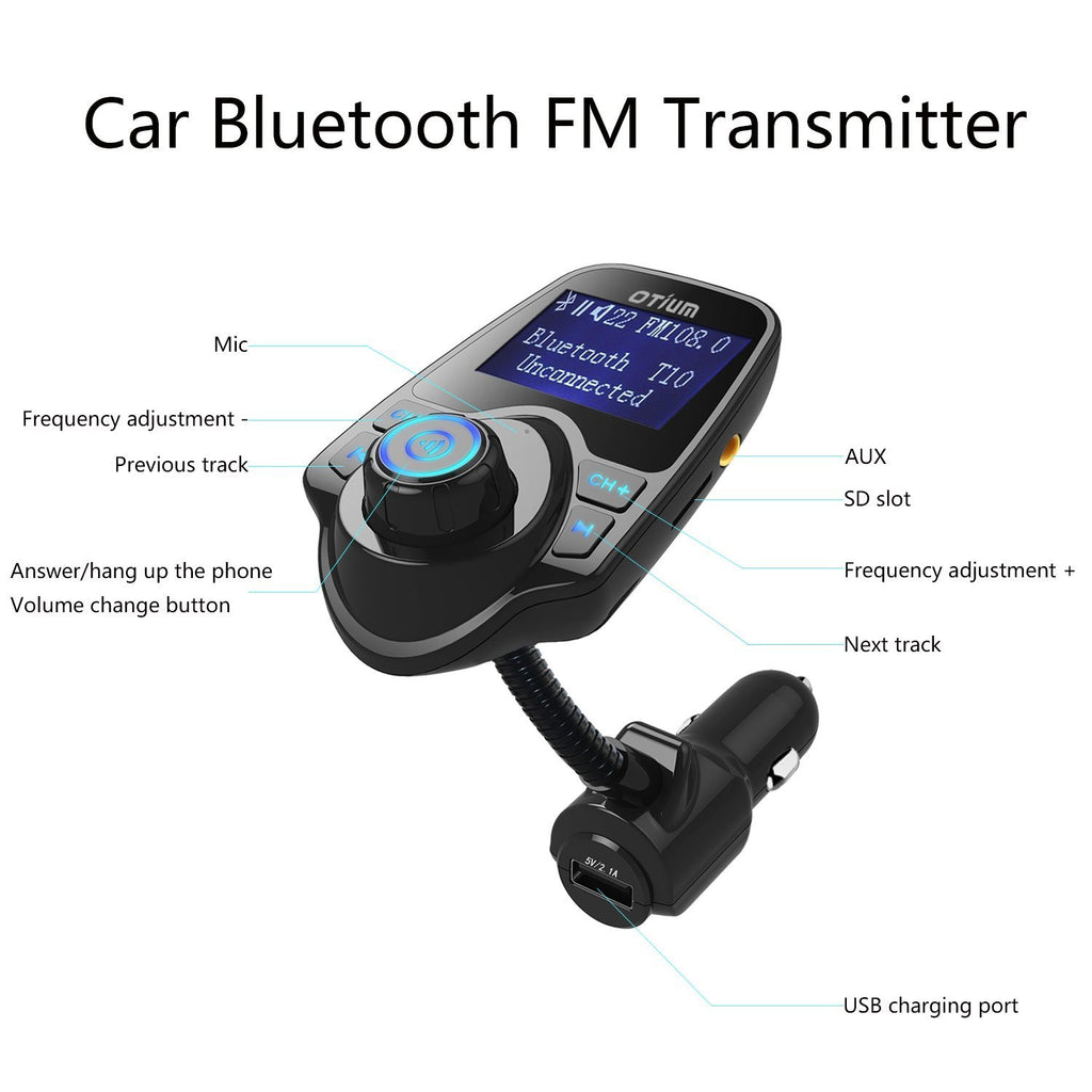 FM Transmitter, Otium® Bluetooth Wireless Radio Adapter Audio Receiver  Stereo Music Modulator Car Kit with USB Charger, Hands Free Calling for