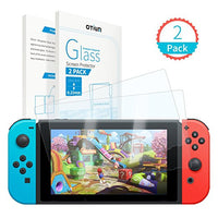 Tempered Glass Screen Protector for Nintendo Switch 2017, (0.22mm) Otium [Smooth with Docking] no Melt/2.5D/9H Hardness/Bubble Free/Easy Installation(2-Pack)