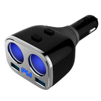 Car Cigarette Lighter, Otium 2-Socket Cigarette Lighter Adapter Socket Splitter Sparate Switch 12/24V 80W  with LED Battery Voltage Display + Dual USB Car Charger 3.4A  For  iPhone iPad, Android Samsung, GPS