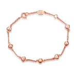 The 'Janice' Sphere + Heart Bracelet - 18K Rose Gold by F+H