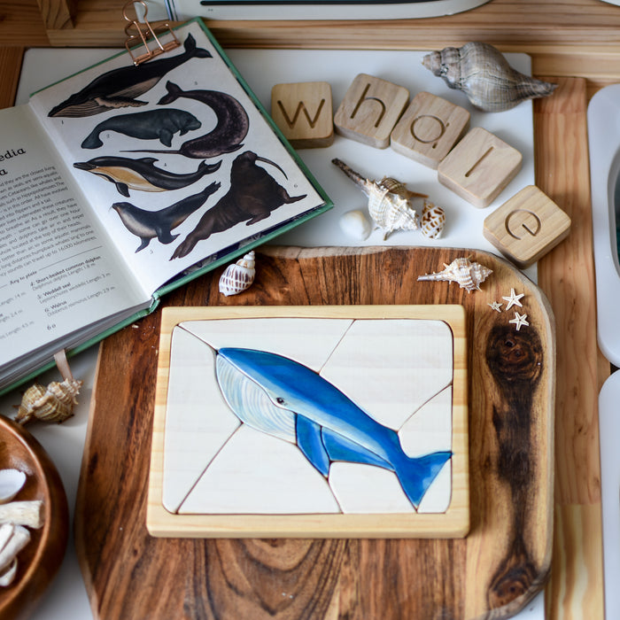 Blue Whale Watercolour Wooden Jigsaw Puzzle