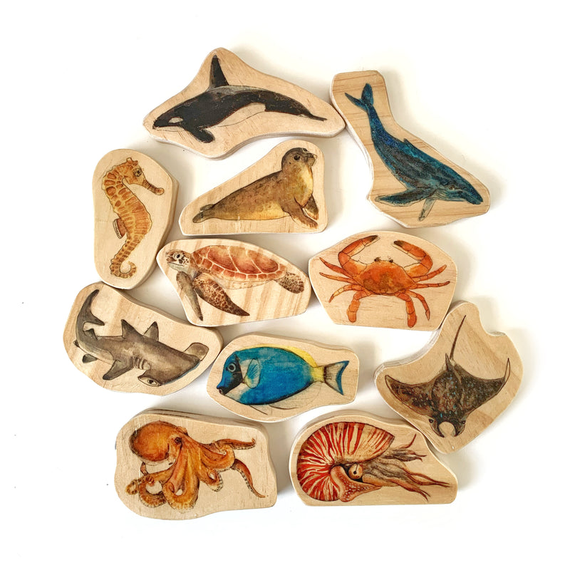Ocean Sea Animals Wooden Block Set