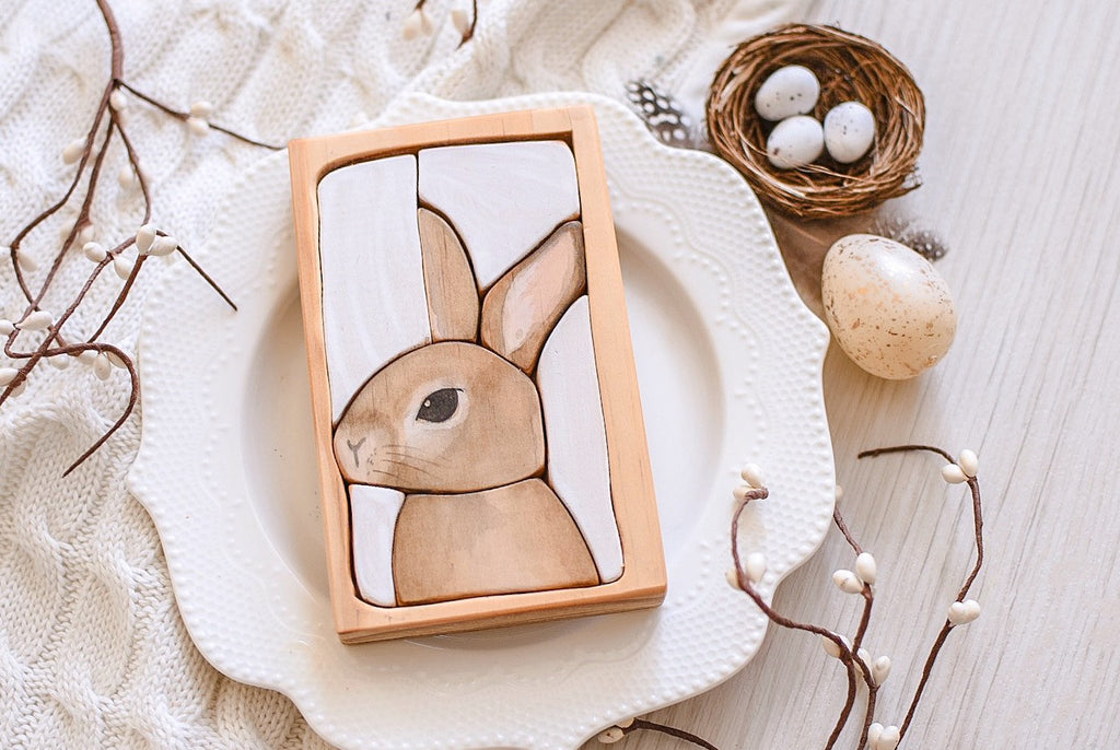 Rabbit Bunny Watercolour Wooden Jigsaw Puzzle