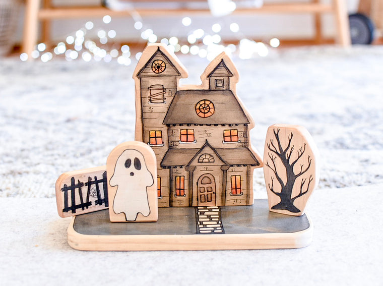 Mini Village Kit Haunted House Wooden Block Set