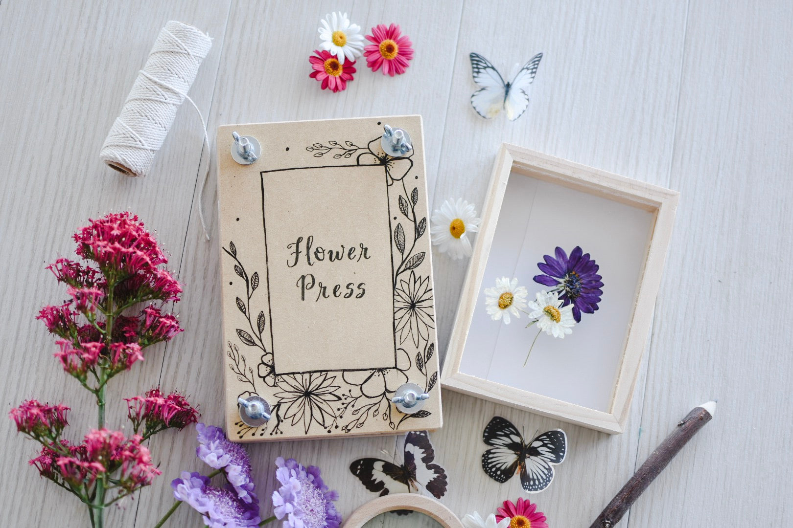 Hand Illustrated Flower Press
