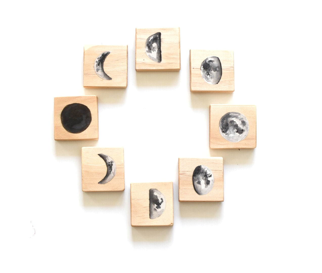 Moon Phases lIlustrated Wooden Learning Tile Block Set