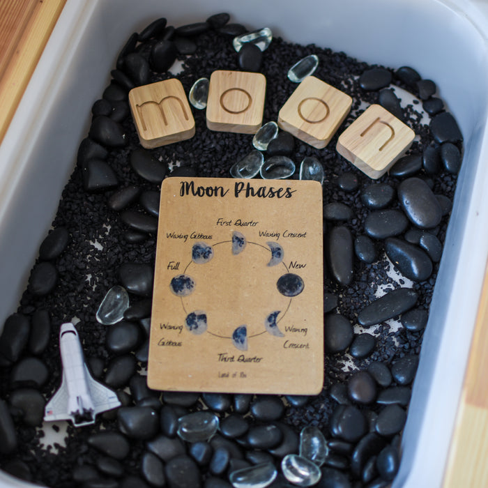 Moon Phases illustrated Wooden Learning Flash Card