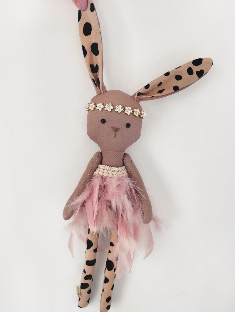 Miss Mischa: Brown Feather Dress Floppy Bunny