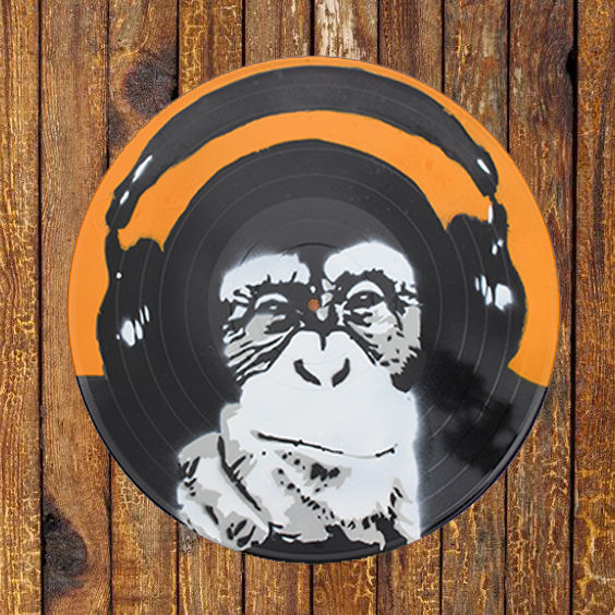 Spray Painted Vinyl - Monkey with Earphones