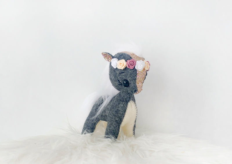 Dark Marle Grey and Rose Gold Glitter Pony