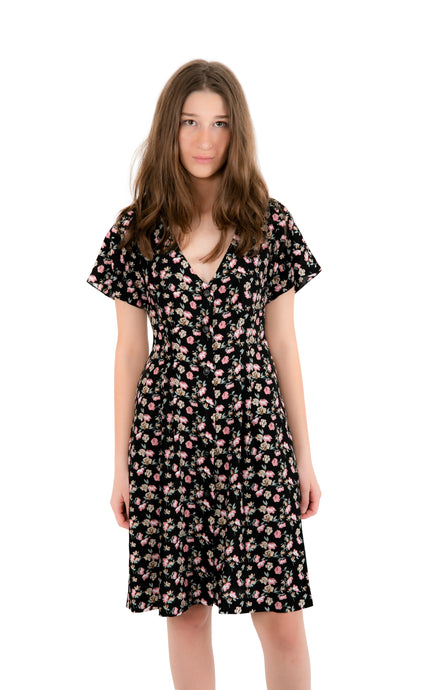 Black Floral Summer Dress - krawaii.com