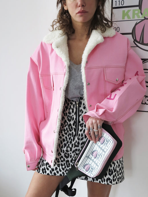 Pink Denim Jacket with faux fur details - krawaii.com