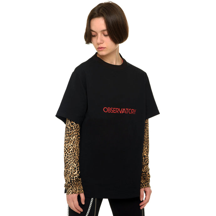 Black/Tiger print Long Sleeve Tshirt With