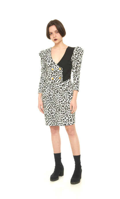 Tiger Print Structured Shoulder Denim Dress - krawaii.com