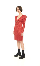 Red Dress With Structured Shoulder Dress - krawaii.com