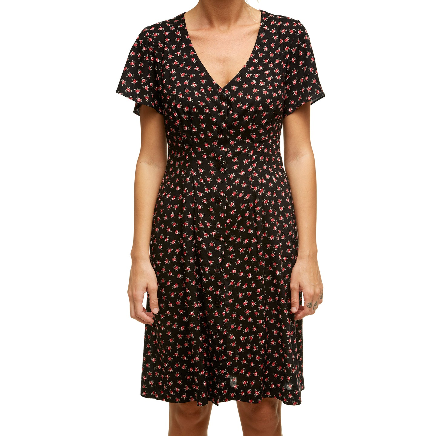 Black Floral Dress With Short Sleeves - krawaii.com