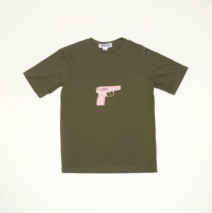 Khaki Cotton T-shirt with gun print - krawaii.com