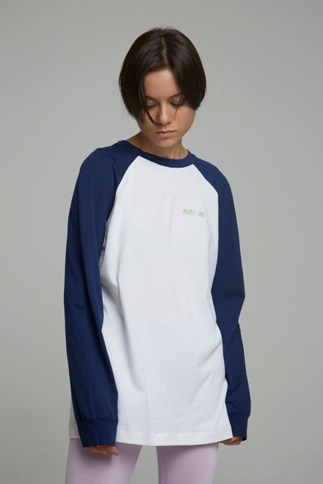 Long Sleeve white/Blue Cotton T-shirt with