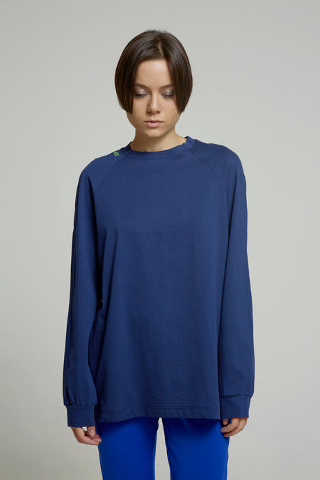 Long Sleeve Blue Cotton T-shirt with