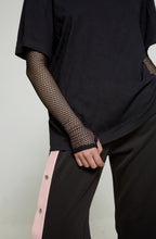 Black Top with Fishnet sleeves and silver chain - krawaii.com