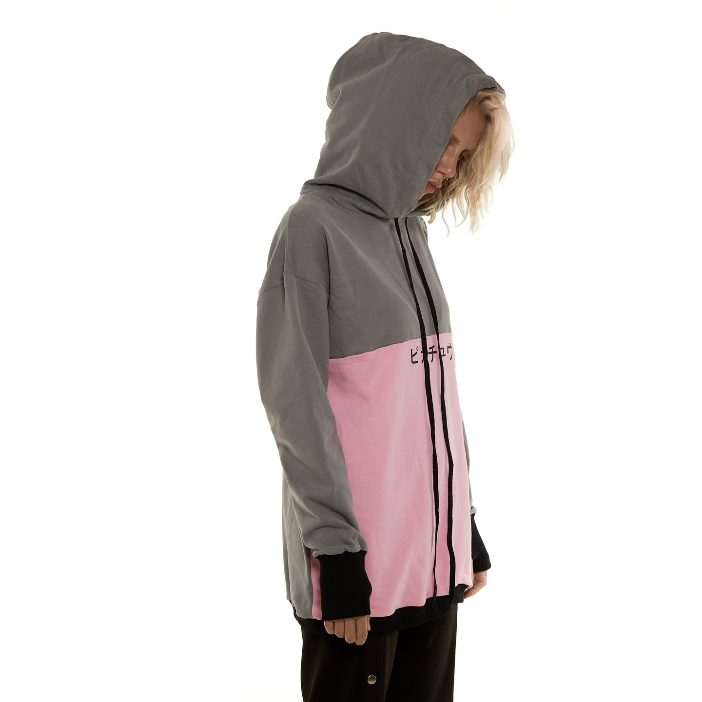 Pink/Gray Hoodie With print - krawaii.com