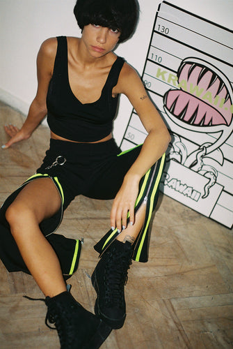 Zip Trousers With Neon Green Details - krawaii.com