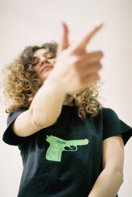 Tshirt With Green Gun Print - krawaii.com
