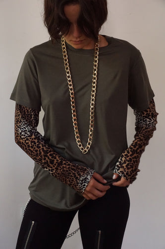 Khaki Tshirt With Leopard Print Sleeves - krawaii.com