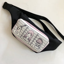 Balck Waist Bag With Pink Print - krawaii.com