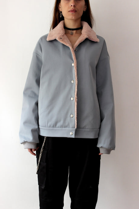 Baby Blue Jacket with removable collar - krawaii.com